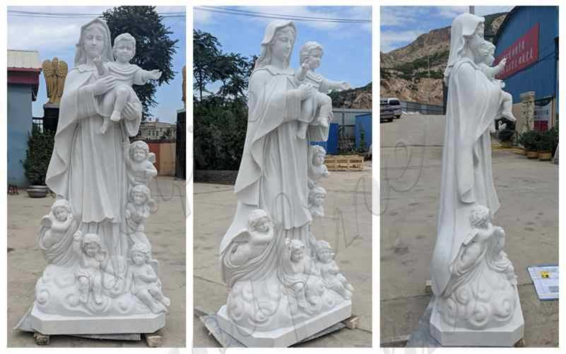 Marble Mary with Children Statue