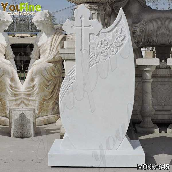 Marble Upright Headstone Carved with Cross on Sale