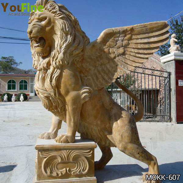 Estate Huge Marble Winged Western Lion Statues Manufacturers MOKK-607
