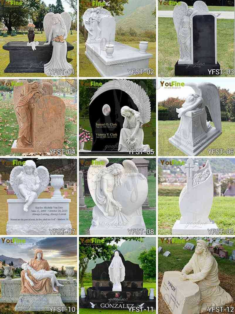 Marble and Granite Weeping Angel Statue Headstone