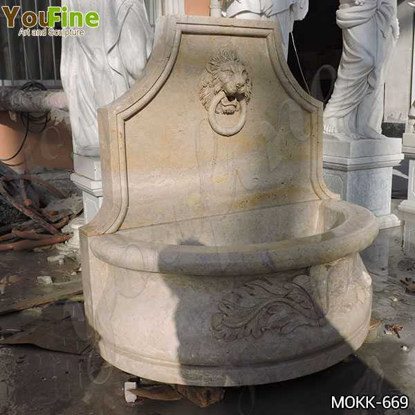 Modern Stone Lion Head Wall Fountain with Pool Factory Supply