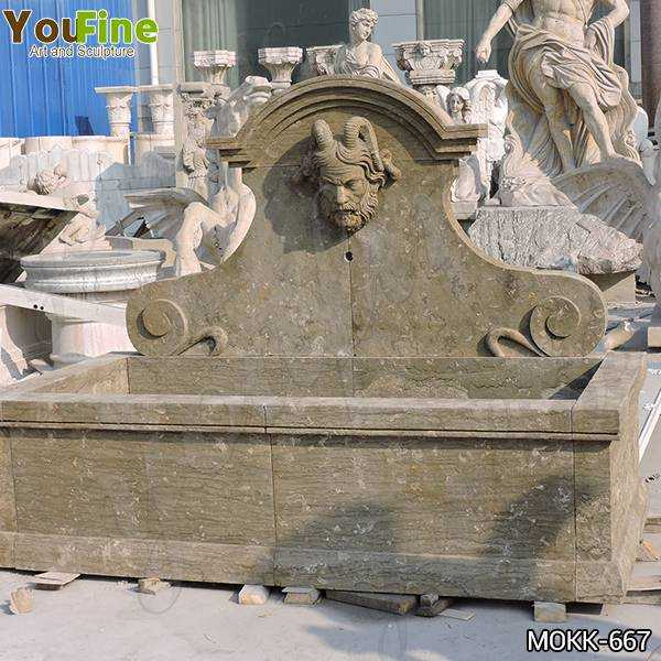 Natural Limestone Wall Fountain with Satyr Head Statue for Sale