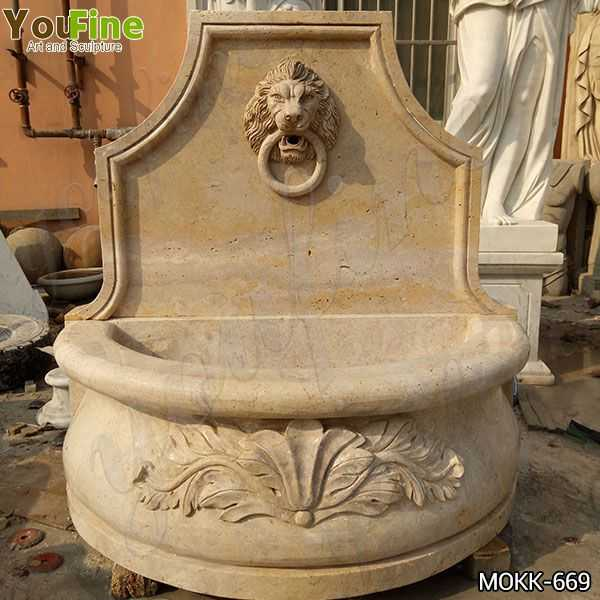 Natural Stone Lion Head Wall Fountain with Pool Factory Supply