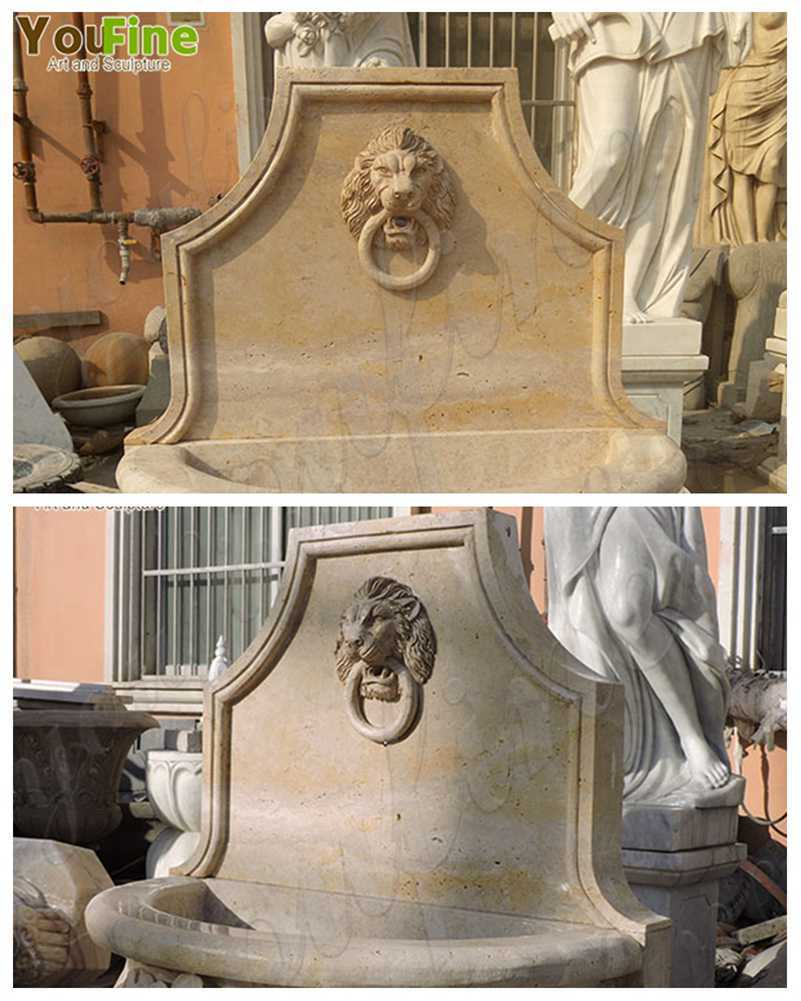 Natural Stone Lion Head Wall Fountain with Pool detail