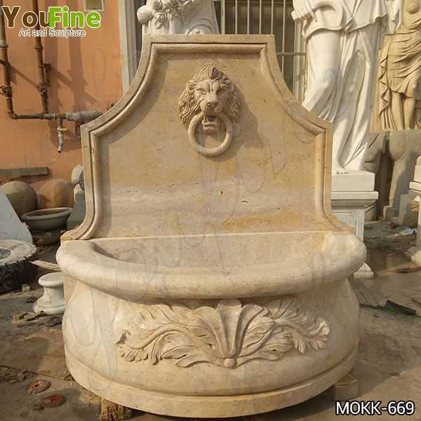 Natural Stone Lion Head Wall Fountain with Pool