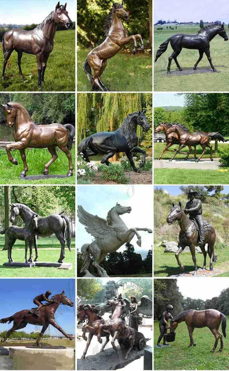 New Antique Bronze Metal Horse Sculpture