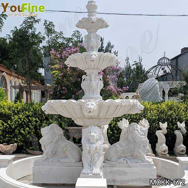 Outdoor 3 Tiered Garden Marble Lion Fountain Suppliers