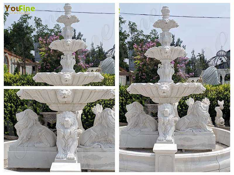 Outdoor 3 Tiered Garden Marble Lion Fountain detail