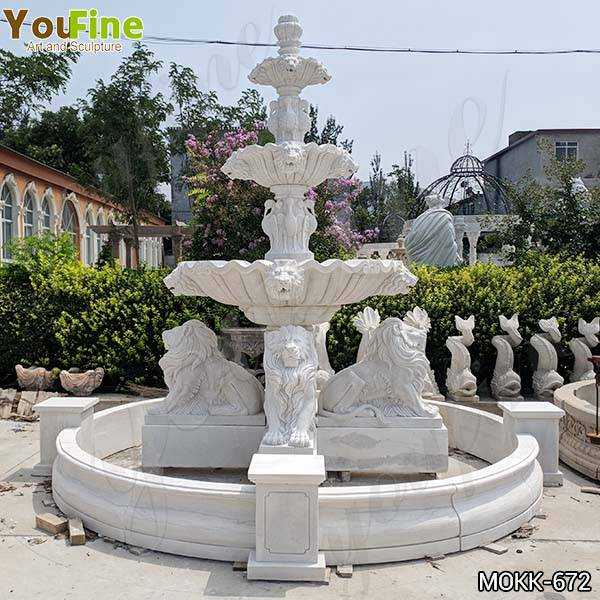 Outdoor 3 Tiered Garden Marble Lion Fountain