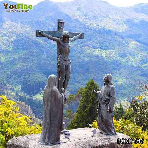 Outdoor Bronze Crucifixion of Jesus Garden Statue Suppliers