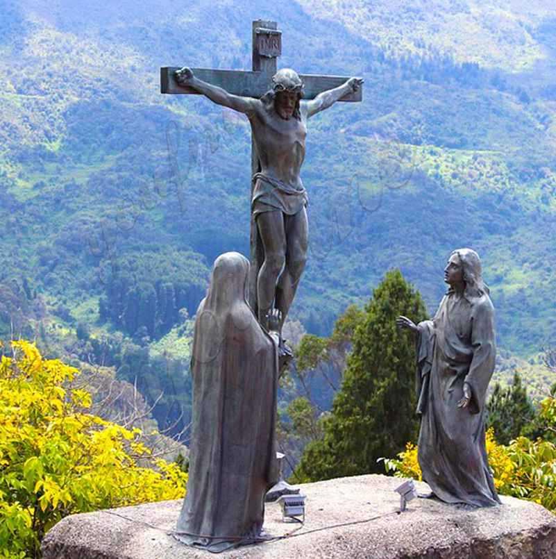 Outdoor Bronze Crucifixion of Jesus Garden Statue