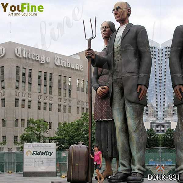 Outdoor Brozne Old Couples Statue Grounds for Sculpture for Sale
