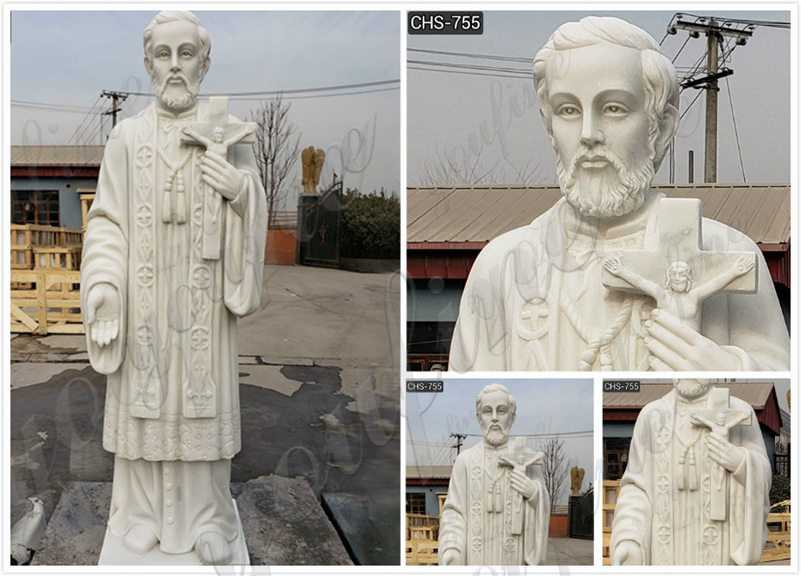 Outdoor Catholic St. Francis Xavier Marble Statue detail