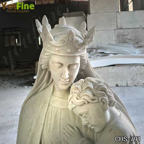 Outdoor Catholic White Marble Madonna and Child Statue