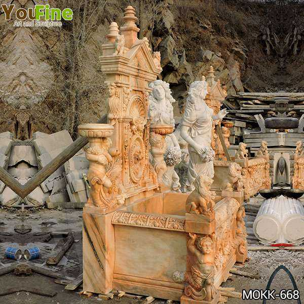 Outdoor Greek Red Marble Statue Wall Fountain for Sale
