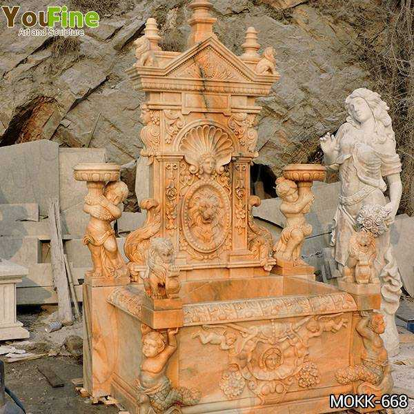 Outdoor Greek Red Marble Statue Wall Fountain