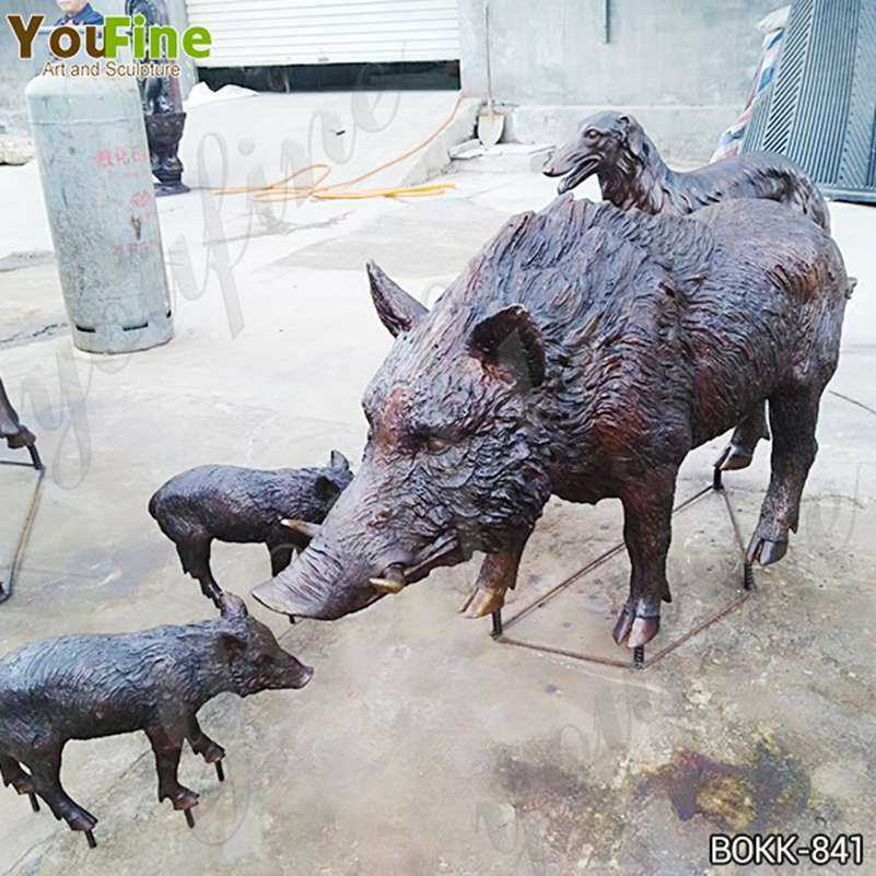Outdoor Life Size Wild Boar Bronze Animal Sculpture Suppliers BOKK-841