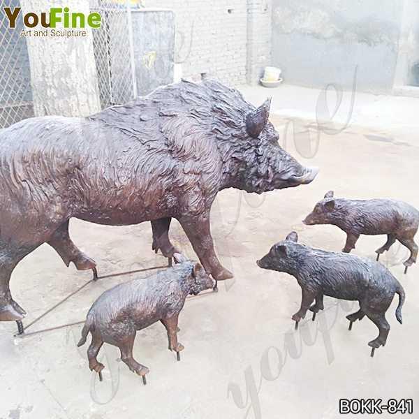 Outdoor Life Size Wild Boar Bronze Animal Sculpture
