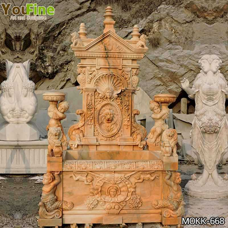 Outdoor Red Marble Statue Wall Fountain for Sale