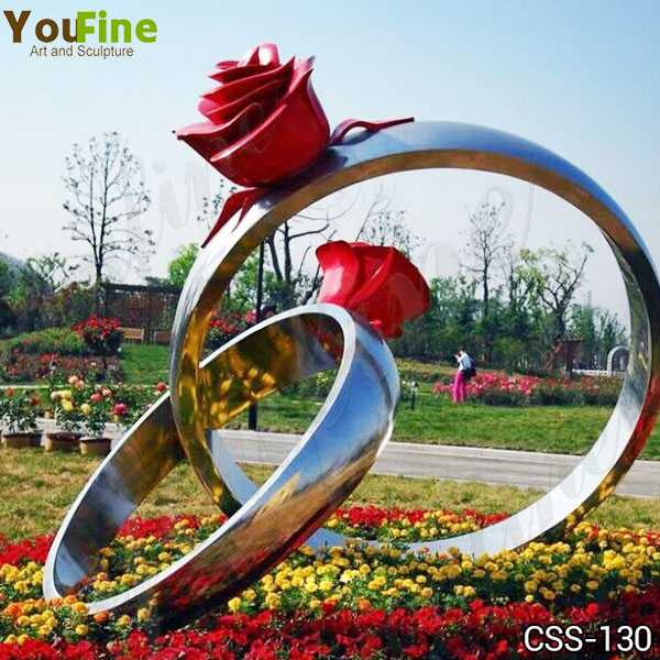Outdoor Stainless Steel Rose Ring Sculpture for Garden Wholesale CSS-130