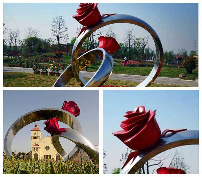 Outdoor Stainless Steel Rose Ring Sculpture for Garden