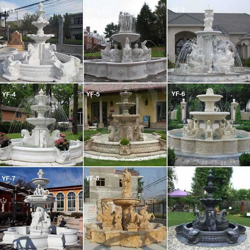 Outdoor Tiered Garden Marble Lion Fountain