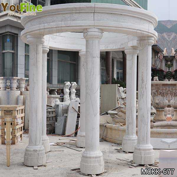 Outdoor White Marble Columns Gazebo with Competitive Price