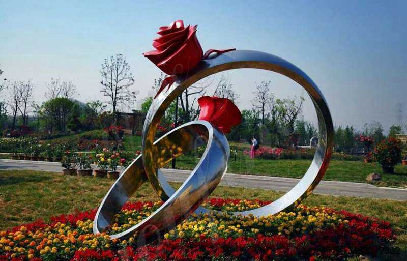 Stainless Steel Rose Ring Sculpture Wholesale