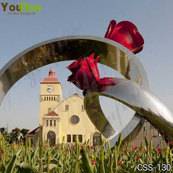 Stainless Steel Rose Ring Sculpture for Garden Wholesale