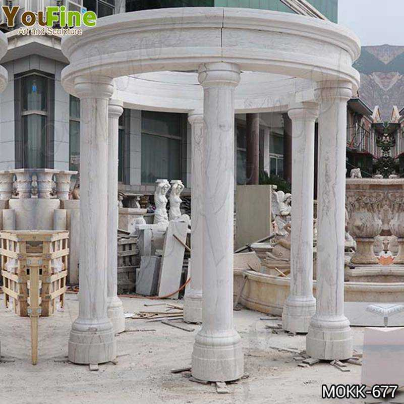 White Marble Columns Gazebo with Competitive Price