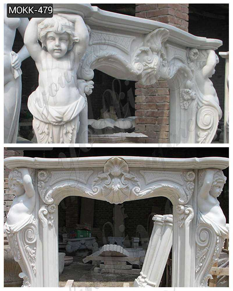 White Marble Fireplace Surround detail
