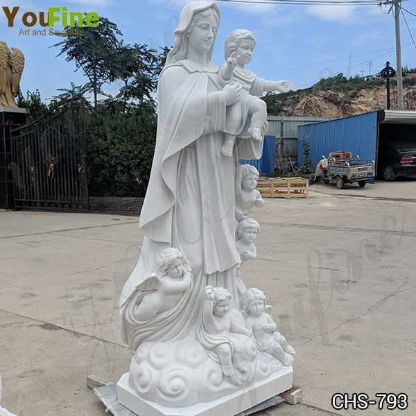 White Marble Our Lady with Children Statue for Sale
