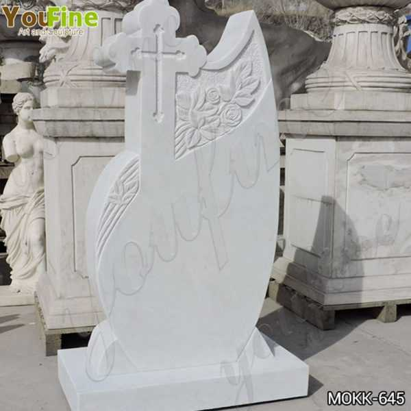White Marble Upright Headstone Carved with Cross