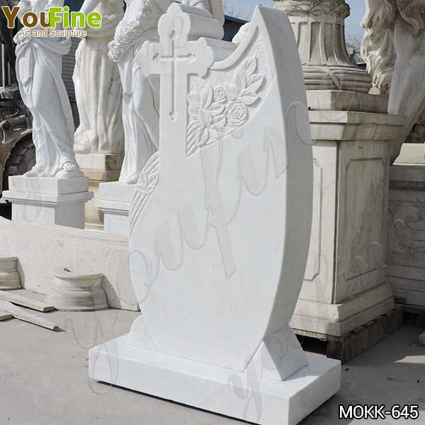 White Marble Upright Headstone Carved with Cross on Sale