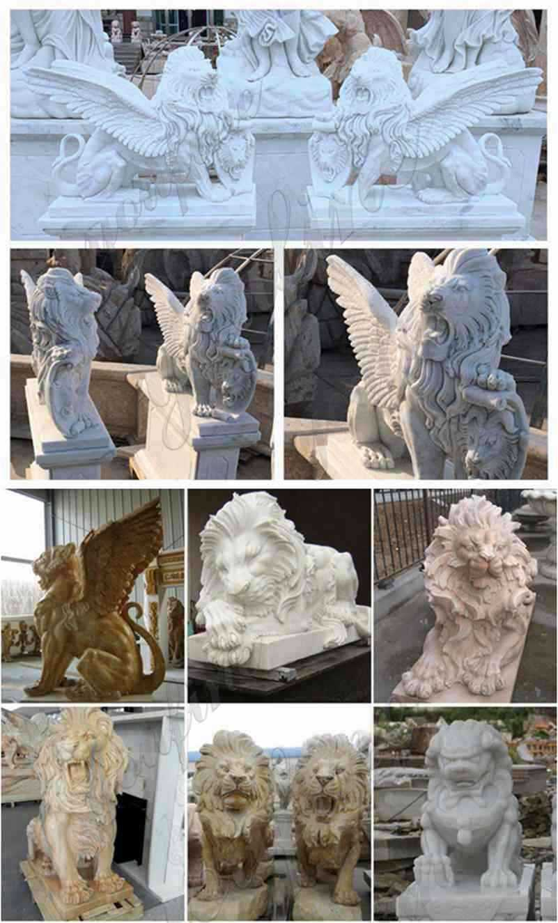 White Marble Winged Lion Statues detail