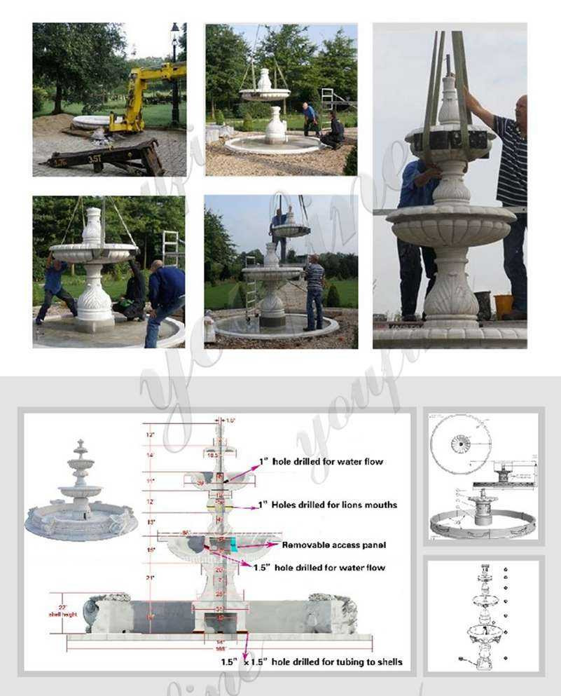 install of Greek Marble Statue Water Fountain