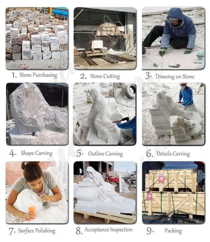 process of large catholic marble statues