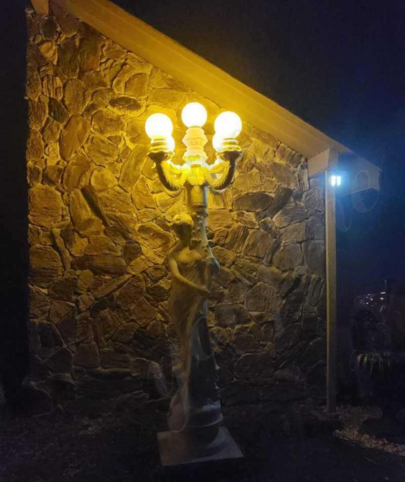 white marble statuary lamp