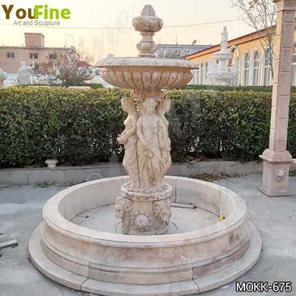 Outdoor Beige Marble Statuary Garden Fountain Manufacturer MOKK-675