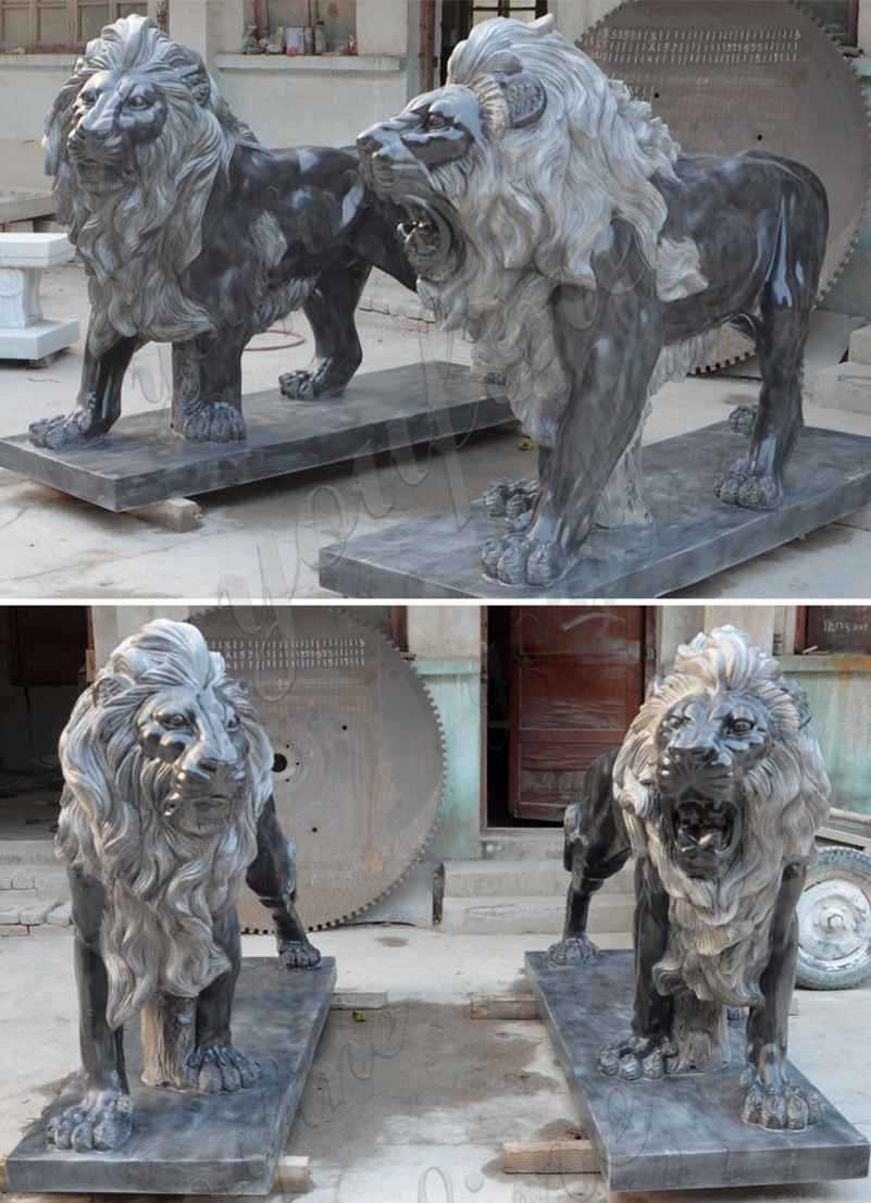 Black Marble Western Lion Sculpture Suppliers