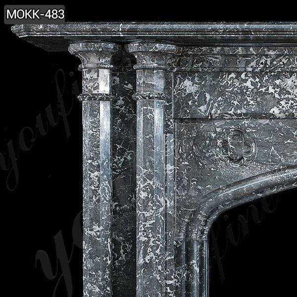 Black Stone Column Fireplace Mantel for Sale