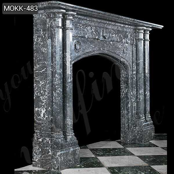 Black Stone Column Fireplace Mantels