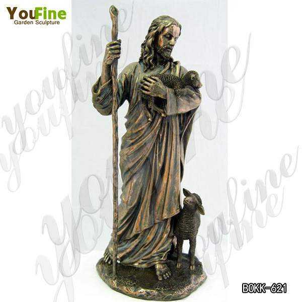 Bronze Jesus The Good Shepherd Statue