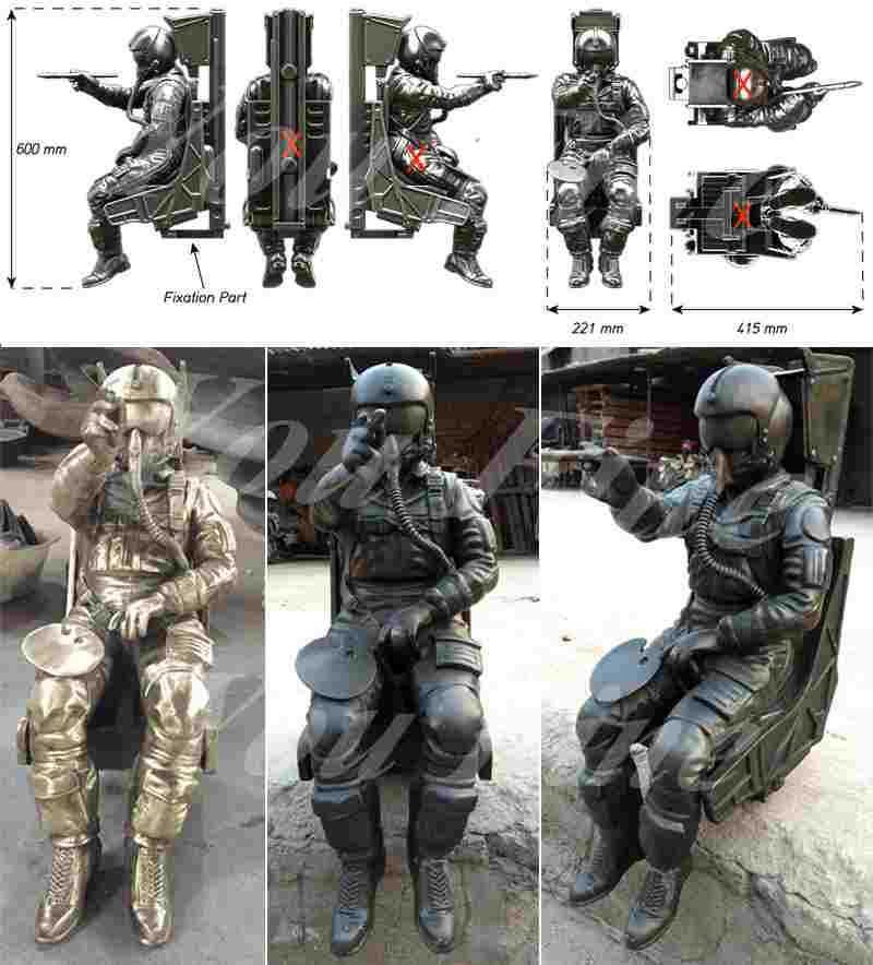 Bronze Spaceman Sculptures