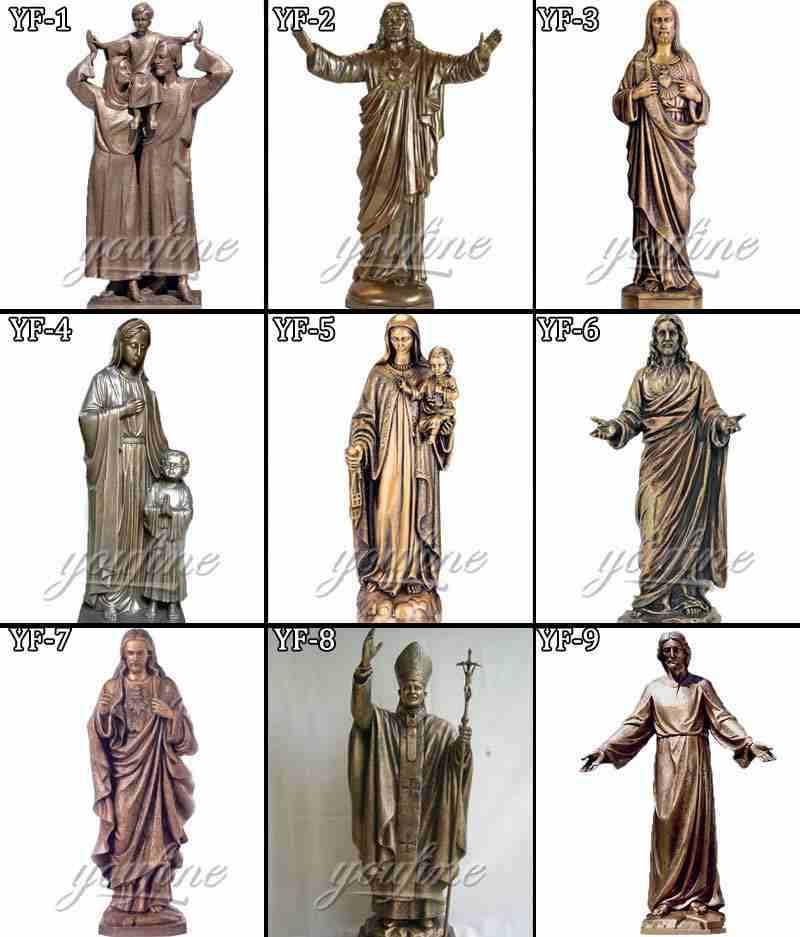Catholic Casting Bronze Mary Statue Holding Baby Jesus
