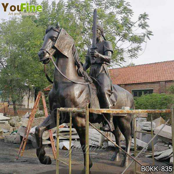Custom Made Bronze Knight on Horse Statue for Sale