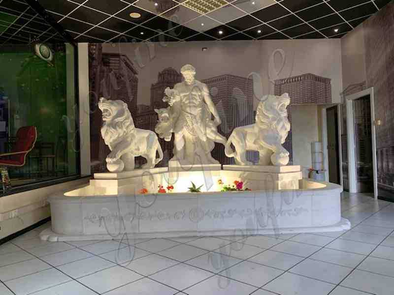 Custom Made White Marble Hercules Fountain with Two Lion Statues for American Client