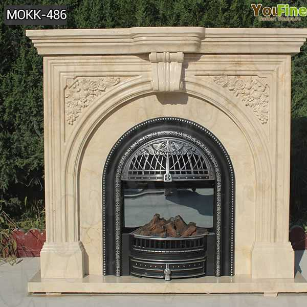 Customized Beige Marble Fireplace Beautiful Simple Classic for Sale MOKK-486