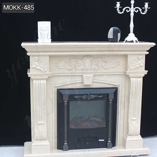 Exquisite Hand carved French Design Flower Marble Fireplace Supplier MOKK-485