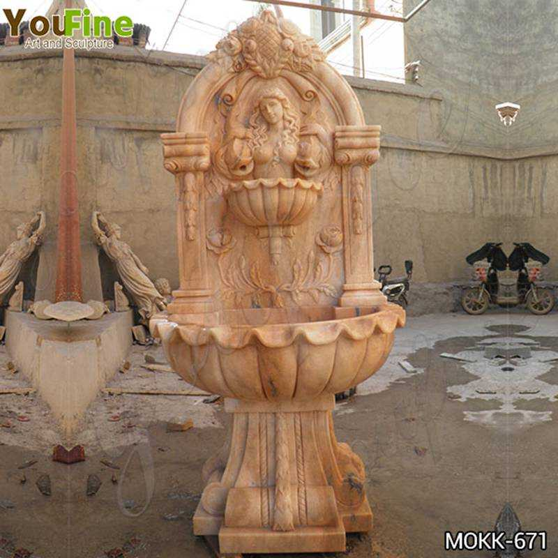 Exquisite Outdoor Red Marble Water Wall Fountain Factory Supply MOKK-671